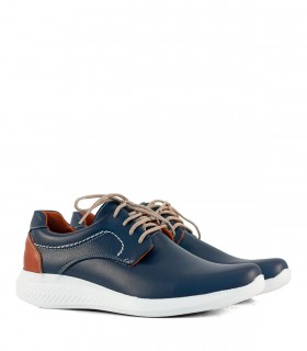 Zapatos acordonados de cuero azul