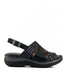 Sandalias de cuero fantasía en negro