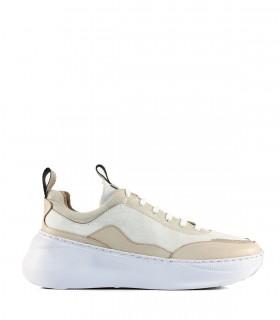 Zapatillas urbanas de cuero metalizado en blanco