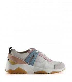 Zapatillas urbanas de cuero y tela en blanco