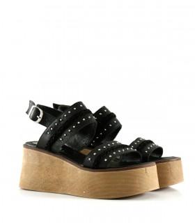 Sandalias bases de cuero negro
