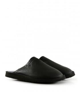 Pantuflas de cuero en negro