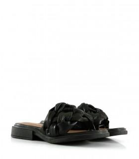 Sandalias bajas de símil trenzadas en negro