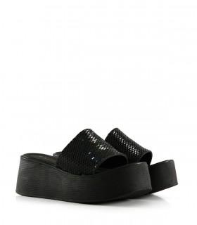 Sandalias de símil con brillo en negro