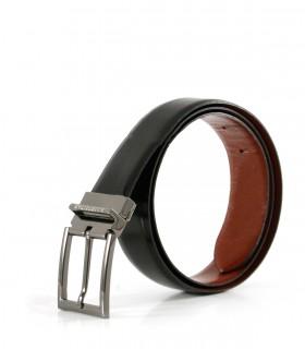 Cinto reversible de cuero negro/suela