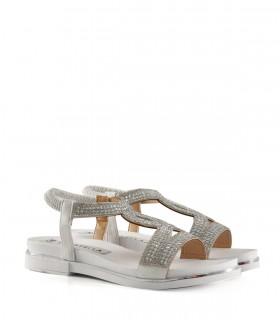 Sandalias bajas de símil con brillo en blanco