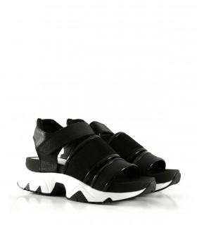 Sandalias combinadas de cuero y tela en negro