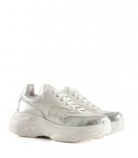 Zapatillas urbanas de símil en plata/blanco