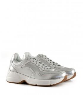 Zapatillas combinadas de símil en plata