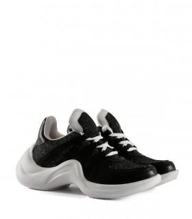 Zapatillas urbanas tramadas de símil en negro